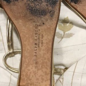 Ralph Lauren Shoes - Ralph Lauren Gold Flat Sandals. Size 8